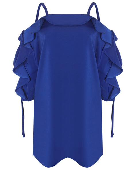 Inighi Frilled Shift Dress - Blue
