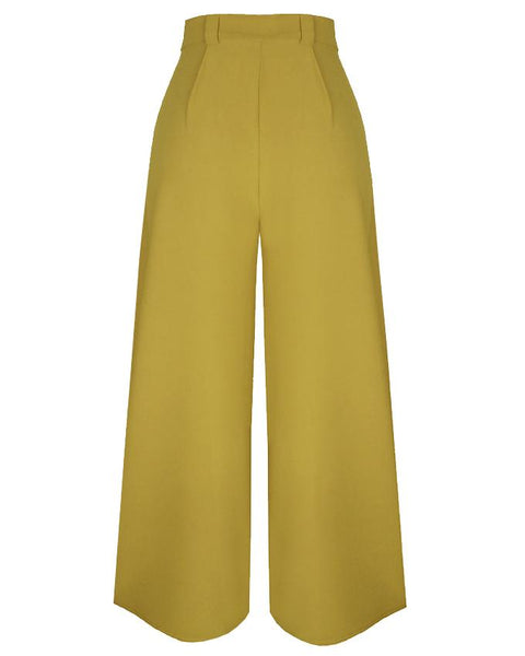 Inighi Wide Leg High Waisted Pants - Chartreuse Green (Not available for express delivery)