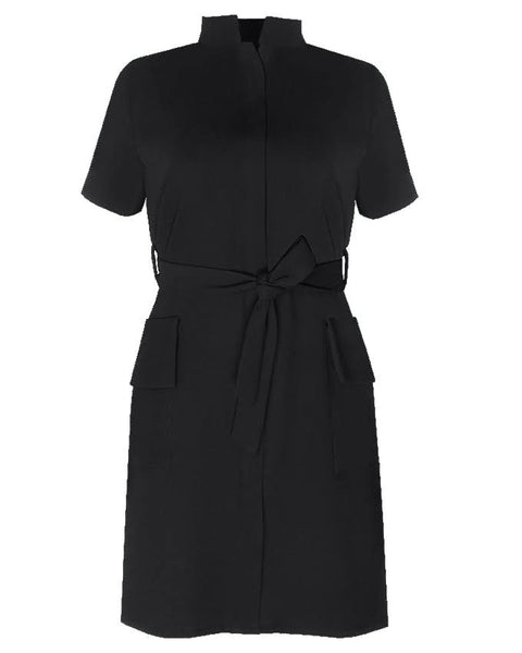 Inighi Frontal Pocket Belted Dress - Black  (Pre - Order Only)