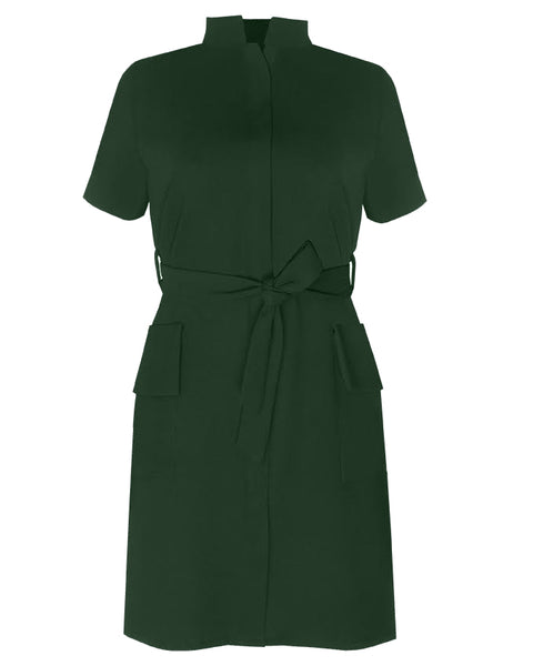 Inighi Frontal Pocket Belted Dress - Forest Green  (Pre - Order Only)