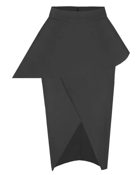 Inighi Peplum Frontal Split Skirt - Black (Pre - Order Only)