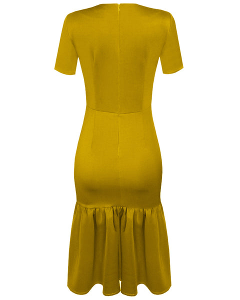 Inighi Gathered Hem Pencil Dress - Mustard Yellow