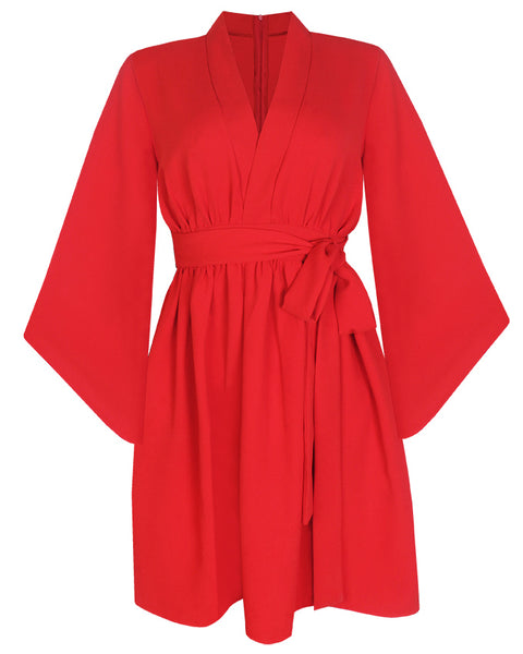 Inighi Kimono Dress - Red (Pre - Order Only)