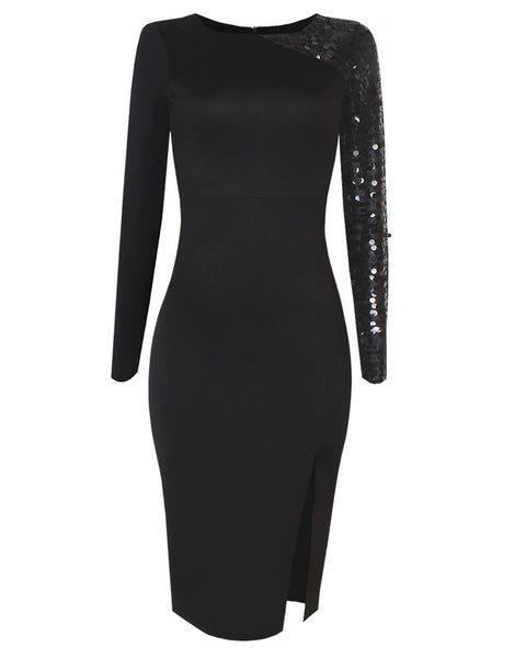 Inighi Long Sleeve Side Slit Dress