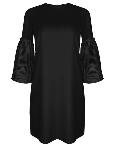 Inighi Net Detail Sleeves Shift Dress - Pitch Black  (Not available for express delivery)