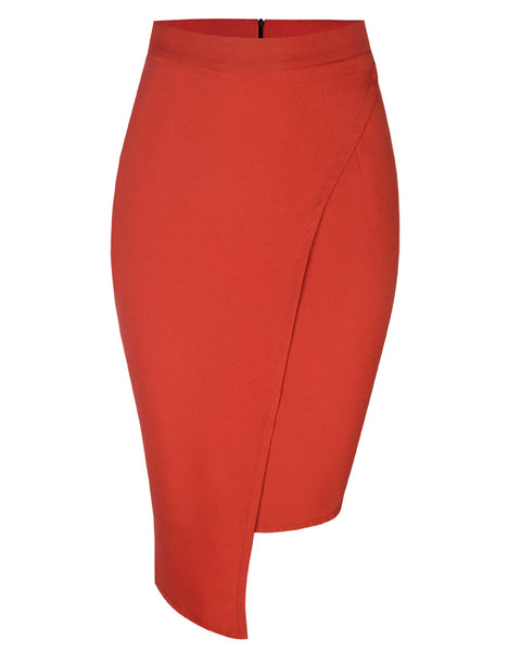 Inighi High-Low Overlap Skirt - Deep Orange (Pre-Order Only)