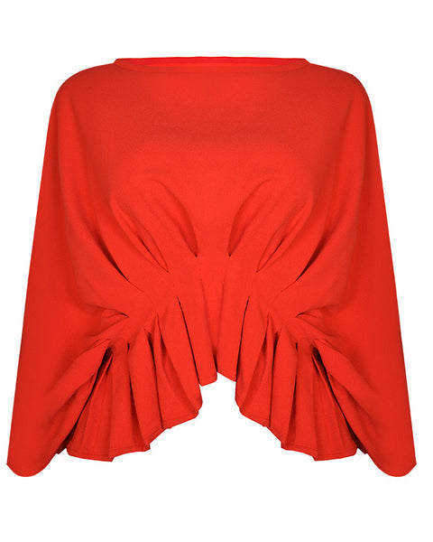 Inighi Oversized Pleated Top - Red