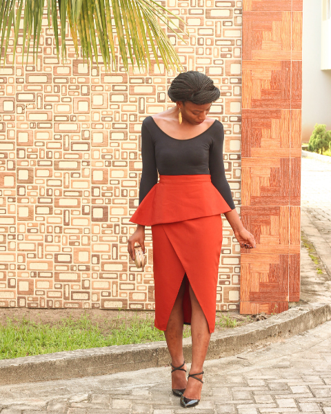 Inighi Peplum Frontal Split Skirt - Orange (Pre - Order Only)