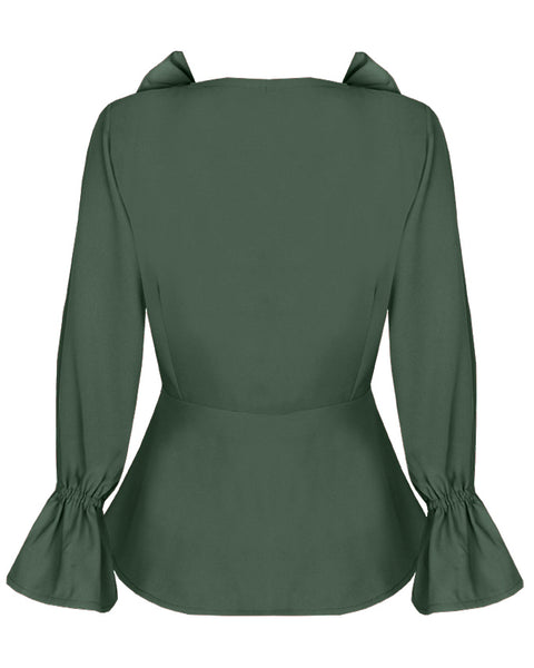 Inighi Frilled Neck Wrap Top - Green