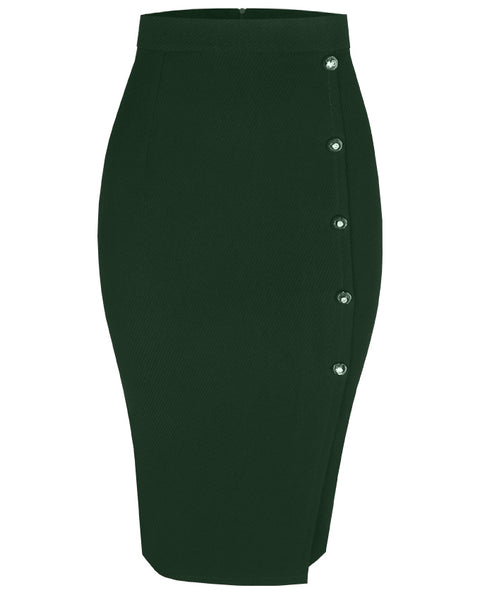 Inighi Side Button Skirt - Green (Pre - Order Only)