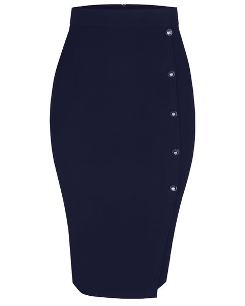 Inighi Side Button Skirt - Navy Blue (Pre - Order Only)