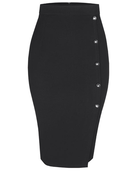 Inighi Side Button Skirt - Black (Pre - Order Only)