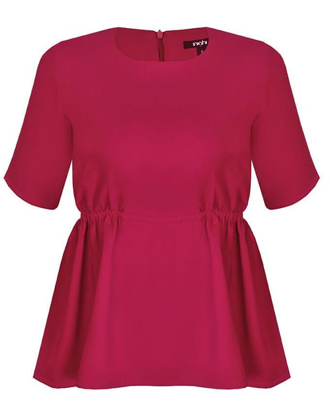 Inighi Side Gathered Detail Blouse - Magenta