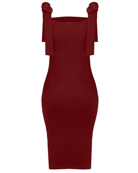 Inighi Spaghetti Frontal Slit Dress - Burgundy