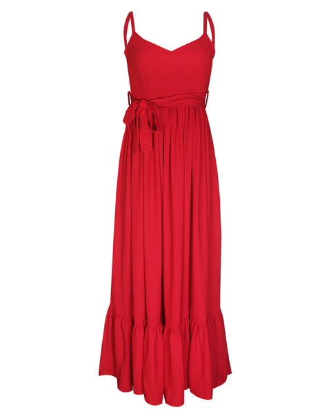 Inighi Spaghetti Gathered Maxi Dress - Red