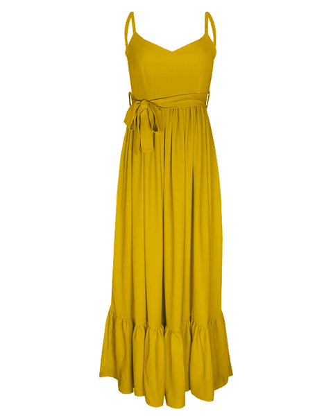 Inighi Spaghetti Gathered Maxi Dress - Yellow (Pre - Order Only)