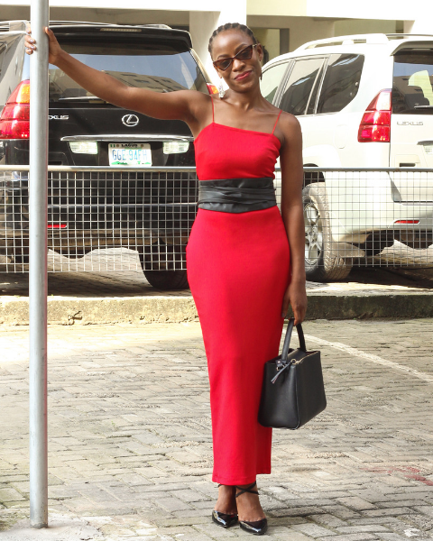 Inighi Spaghetti Pencil Dress - Red (Pre - Order Only)
