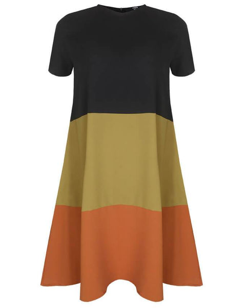 Inighi Triple Coloured Shift Dress - Black, Green & Orange