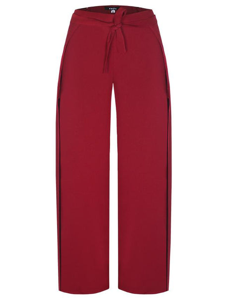 Inighi Wrap Side Slit Palazzo Pants -Burgundy (Not available for express delivery)