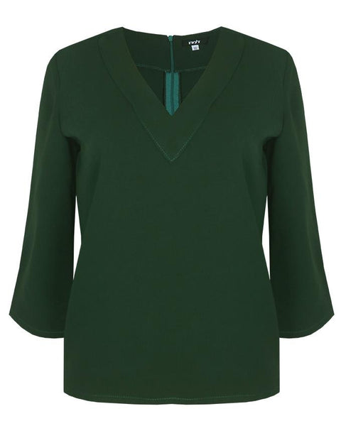Inighi V-Neckline Casual Blouse - Forest Green (Not available for express delivery)