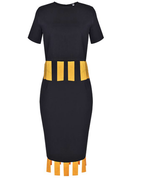 Inighi Fringe Detail Top and Skirt Set - Black & Mustard