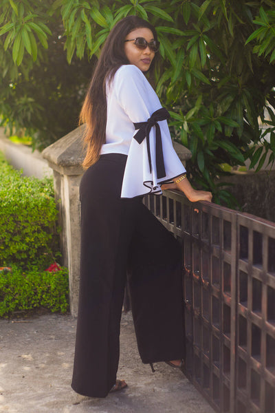 Inighi Roped Bell Sleeve Blouse and High Waist Flare Pants