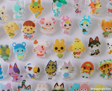 Load image into Gallery viewer, Acrylic Pin Animal Crossing Lucky