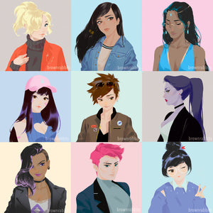 Overwatch Girl Group Art Prints - D.va, Mei, Tracer, Sombra, Zarya, Mercy etc