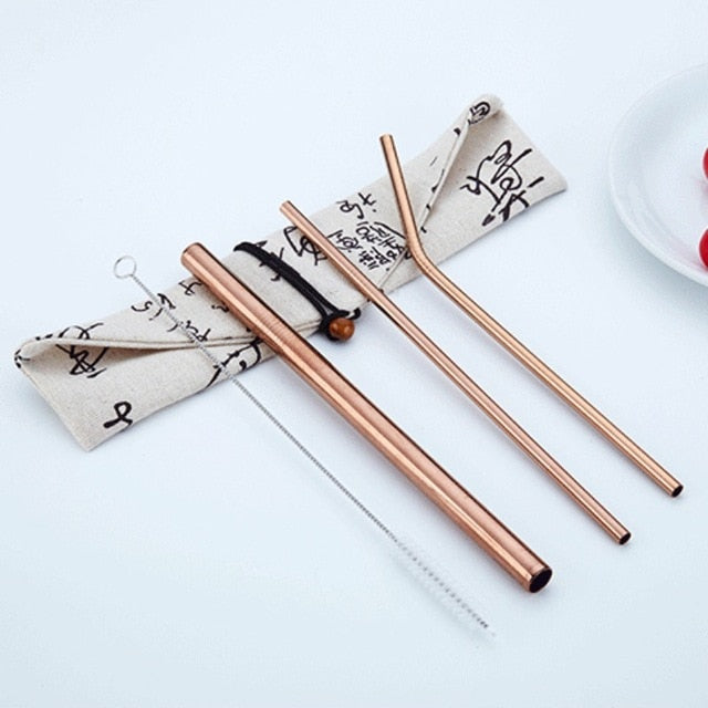 4pcs/Set Reusable 304 Stainless Steel Straw  with Travel Bag and Cleaning Brush - Coffee Chronicles