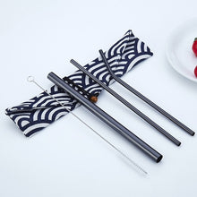 Load image into Gallery viewer, 4pcs/Set Reusable 304 Stainless Steel Straw  with Travel Bag and Cleaning Brush - Coffee Chronicles