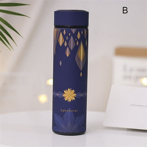 17oz  Decorative Thermos- Double Wall Stainless Steel Vacuum - Coffee Chronicles