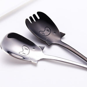 Cartoon Pig Shaped Children's Spoon or Spork 7 Colors - Coffee Chronicles