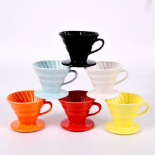 Load image into Gallery viewer, Ceramic Coffee Drippers V60 Style...  5 Colors Choices - Coffee Chronicles