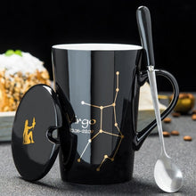 Load image into Gallery viewer, Zodiac Ceramic Mugs with Spoon and Lid, Black or White and Gold Zodiac Art 420ml - Coffee Chronicles