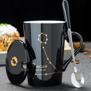 Zodiac Ceramic Mugs with Spoon and Lid, Black or White and Gold Zodiac Art 420ml - Coffee Chronicles