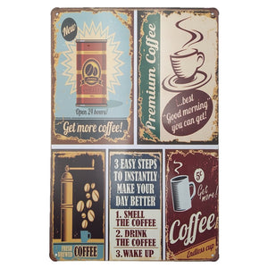Assorted Vintage Metal Tin COFFEE Signs Home Art Decor Fast Delivery - Coffee Chronicles