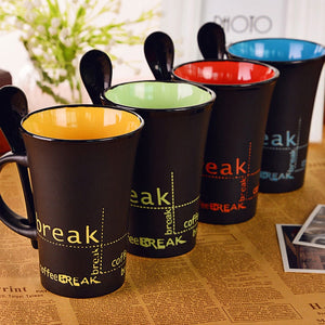 "Ceramic Cup with Spoon  ""Coffee Break"" - Coffee Chronicles"