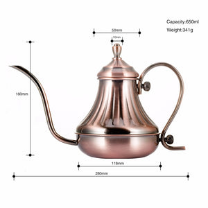 Antique Design Drip Kettle Gooseneck Coffee Kettle 600ml Silver or Bronze - Coffee Chronicles