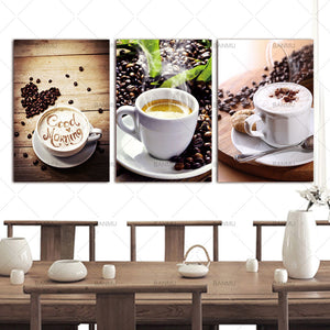 3 Panels Canvas Paintings Wall Art. Coffee on canvas (no frame) - Coffee Chronicles