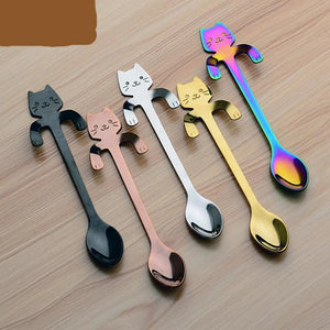 FREE !! 4pcs OR (5pcs variety)  Stainless Steel Mini Cat/Kitten Spoons for Coffee & Tea - Coffee Chronicles