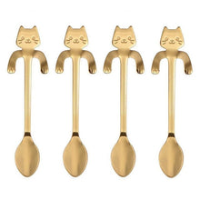 Load image into Gallery viewer, FREE !! 4pcs OR (5pcs variety)  Stainless Steel Mini Cat/Kitten Spoons for Coffee & Tea - Coffee Chronicles