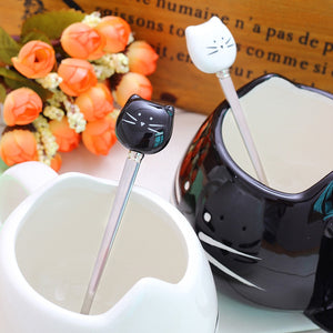 Black or White Cat Head Spoons - Coffee Chronicles