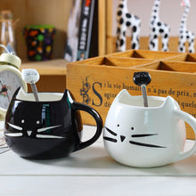 Load image into Gallery viewer, Black or White Cat Head Spoons - Coffee Chronicles