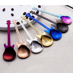1pcs,  Beautiful 7 Colors Stainless Steel Guitar Shaped Coffee Spoon - Coffee Chronicles