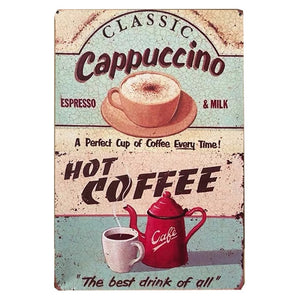 Assorted 7.87x11.8 inch Vintage Metal Tin Signs Wall Art Plates - Coffee Chronicles