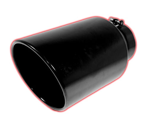 Rolled Angle Cut Bolt-on | Black Powder Coated Exhaust Tip