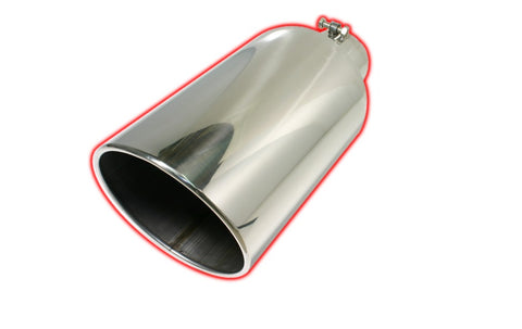 Bolt-on Rolled Angle Cut | Polished 304 Stainless Exhaust Tip