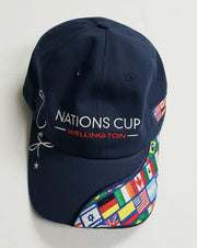 WEF Nations Cup Hat with Flags on the Bill.