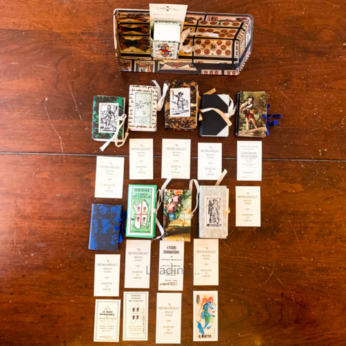 The Meneghello Tarot Shelf of 10 Miniature Tarot decks