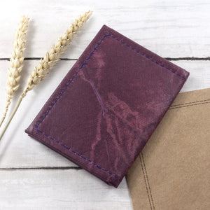 Bifold Cardholder in Leaf Leather - Dark Lavender